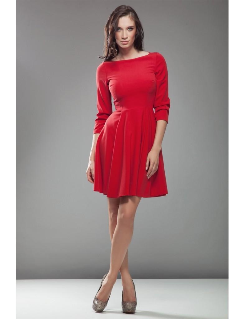 rochie-audrey-cu-maneca-3~4-~-rosu-i23069-3