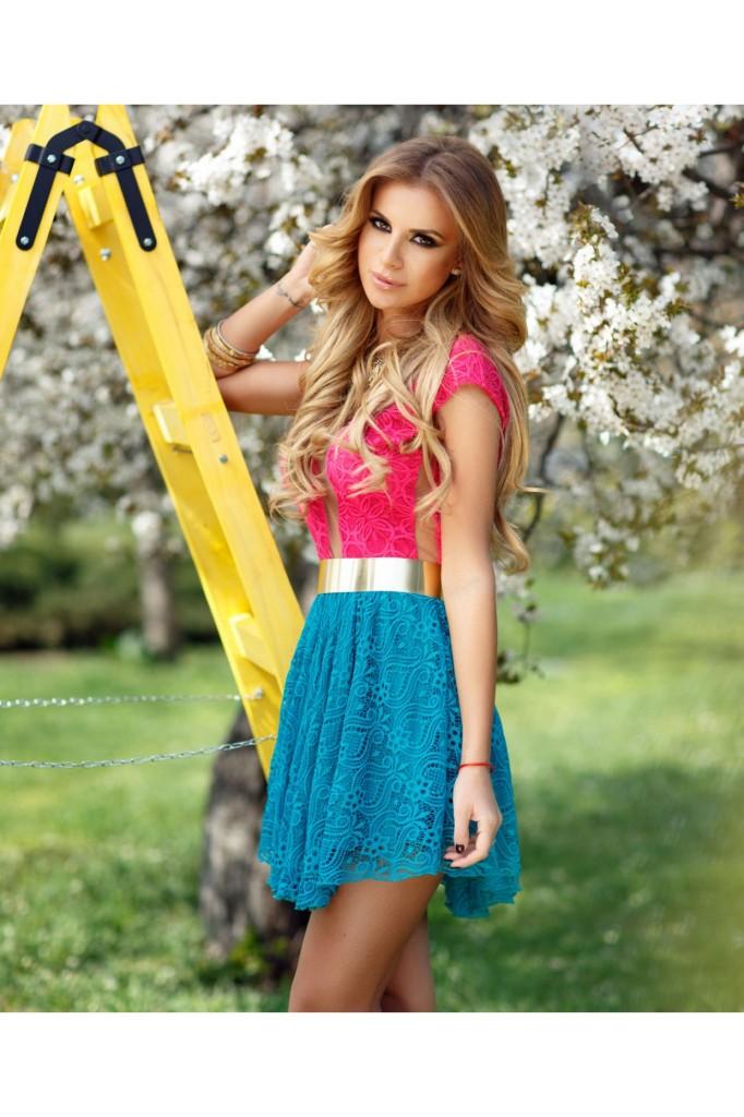 rochie-scurta-dantela-ciclam-si-turquoise