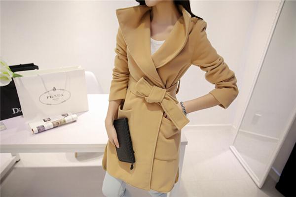 New-2015-Fashion-Women-Wool-Coat-Autumn-Winter-Medium-Long-Trench-Coats-Khaki-Black-Ladies-Warm