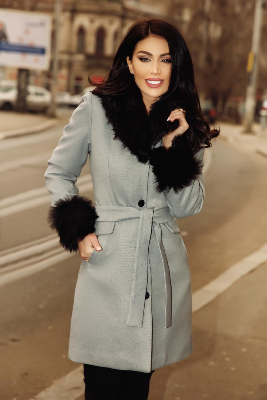 ieftin la reducere magazin murdărie ieftine Palton gri din stofa cu blanita neagra - iubesc Moda