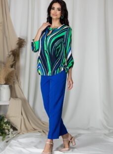 Pantaloni Rebecca office albastri cu dunga