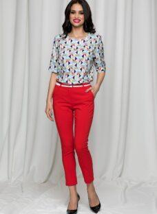 Pantaloni Tina office rosii cu dunga