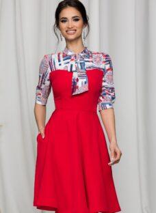 Rochie MGB midi rosie cu maneci trei sferturi