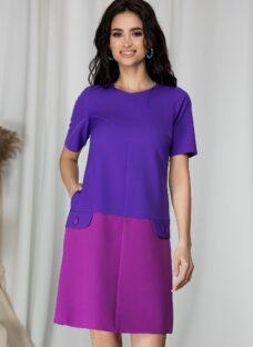 Rochie Moze mov in doua culori si aplicatii tip buzunare